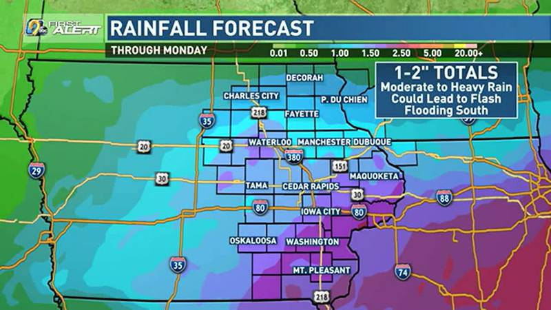 Fairly heavy rainfall is possible on Sunday.