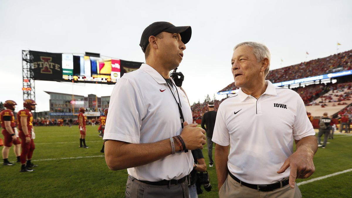 FILE - In this Sept. 14, 2019, file photo, Iowa State head coach Matt Campbell, left, talks...