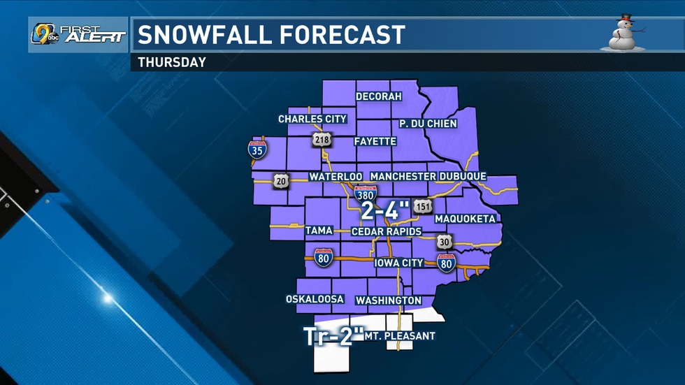 A strong cold front will be pushing through eastern Iowa on Thursday bringing freezing rain,...