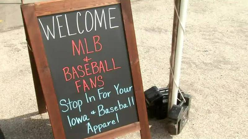A sign welcoming visitors ahead of the Major League Baseball game in Dyersville.