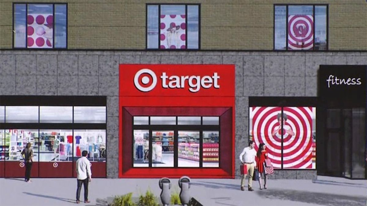 A rendering of the future storefront of a Target store in downtown Iowa City on Washington...