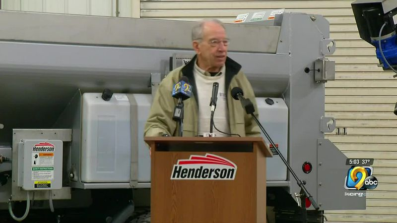 Senator Grassley visits Henderson in Manchester on January 12, 2021.