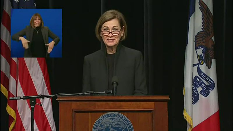 Iowa Gov. Kim Reynolds addresses the state with the latest regarding COVID19