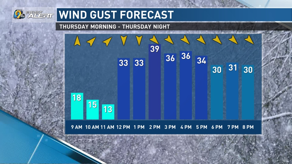 Wind gust forecast for Thursday. High winds could lead to blizzard-like conditions.