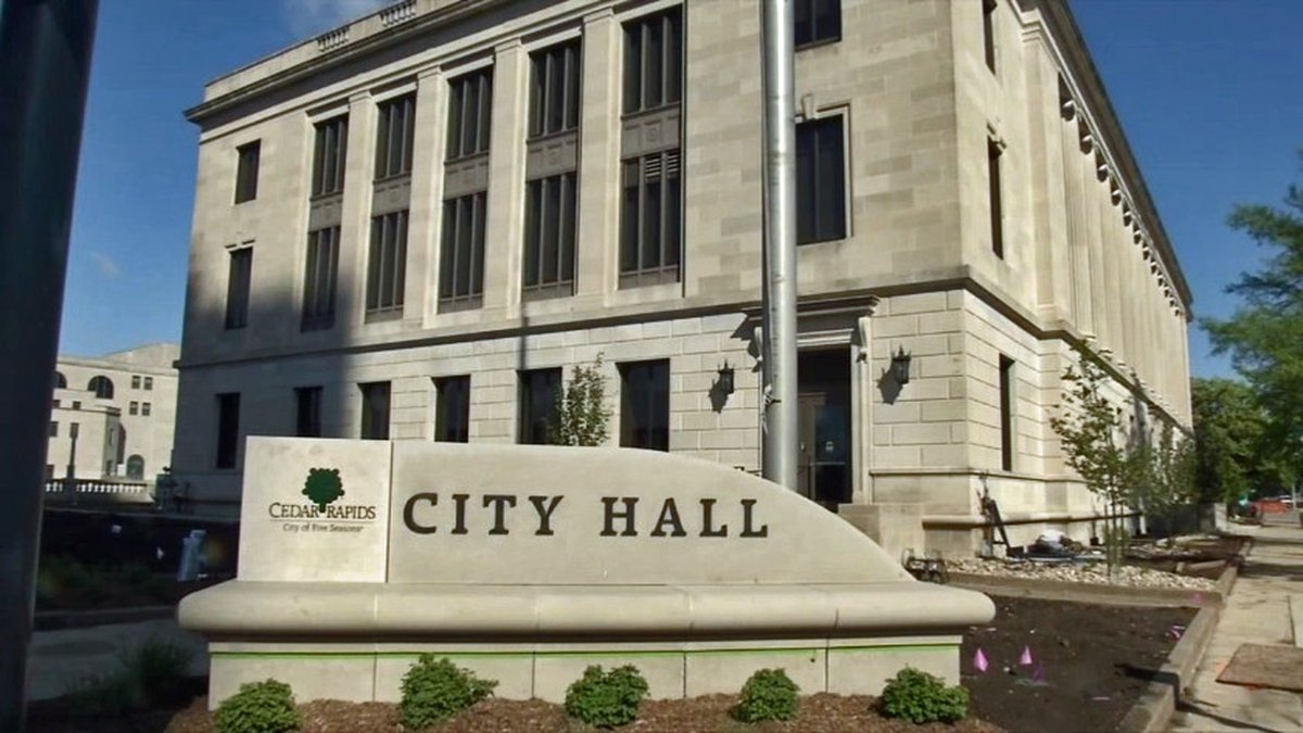 The exterior of Cedar Rapids City Hall on Tuesday, May 12, 2020. (Aaron Hosman/KCRG)