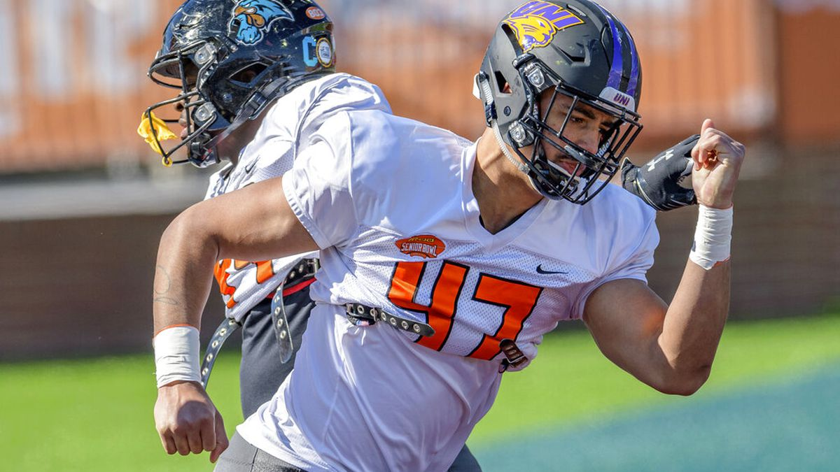 National Team defensive lineman Elerson Smith of Northern Iowa(FCS) (47) runs a drill with...