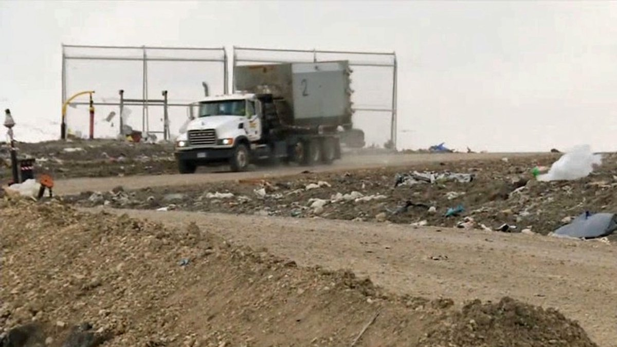 A truck navigates through the landfill at the Linn County Solid Waste Agency in Linn County on...