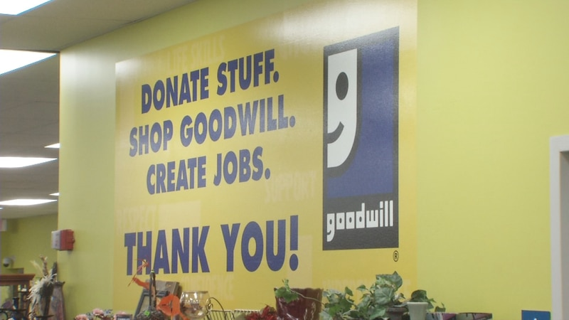 A sign from inside the Goodwill of the Heartland store in Cedar Rapids.