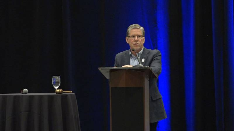 Cedar Rapids Mayor Brad Hart delivers the State of the City address on Wednesday, Feb. 26,...