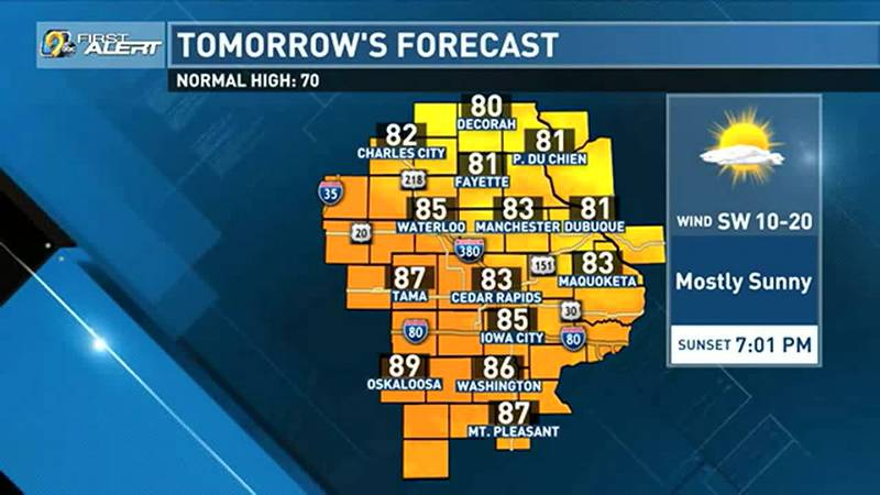 Our weather pattern in the coming days remains quiet with above average temperatures.