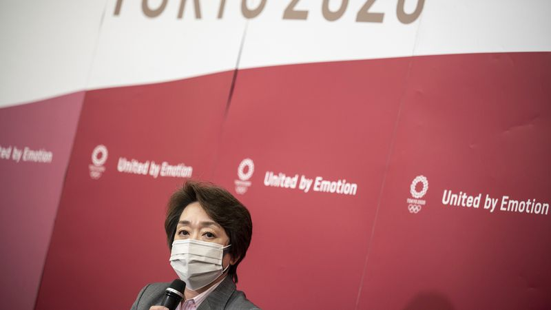 Seiko Hashimoto, president of Tokyo 2020 attends a media huddle following the IOC Executive...