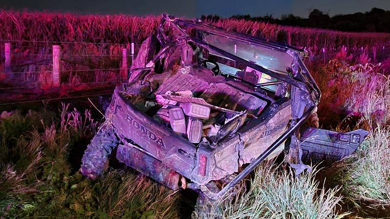 A damaged Honda all-terrain vehicle that sheriff's deputies said was involved in rollover crash...
