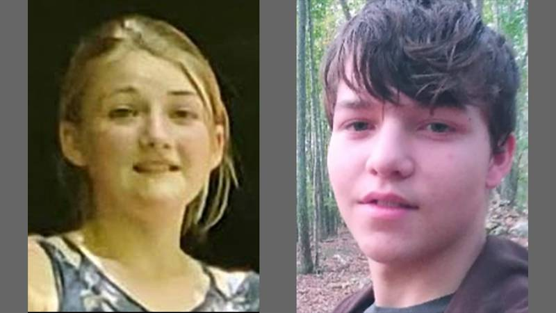 Erica Gamerdinger, left, 13, of Edgewood, and Keith Griffith, right, 15.