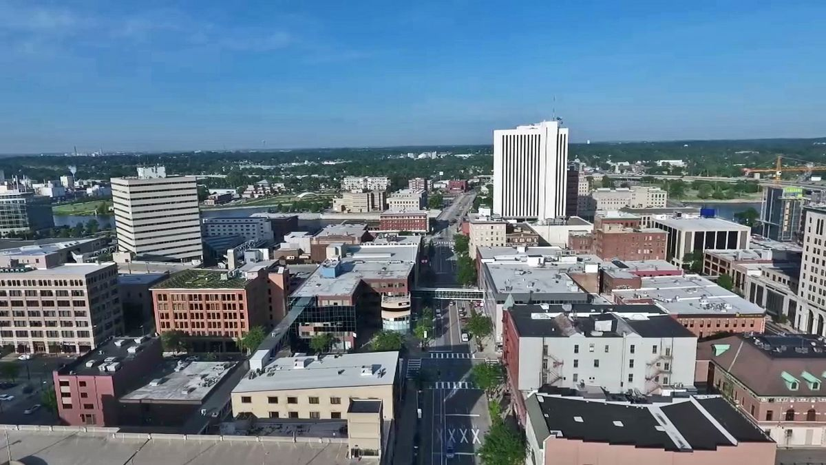 A view of downtown Cedar Rapids from NewsDrone9 on June 18, 2018 (KCRG File)