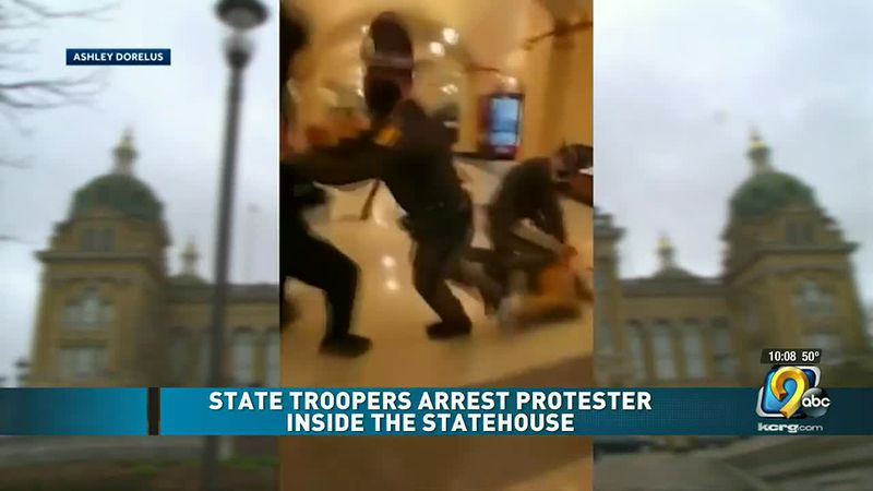 State Troopers arrest protester inside Iowa statehouse