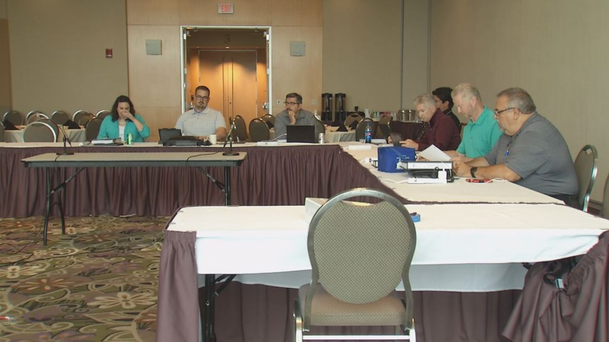 """The Dubuque City Council meets to have a closed session for """"professional evaluations"""" on August 12, 2019. (Charlie Grant, KCRG)"""