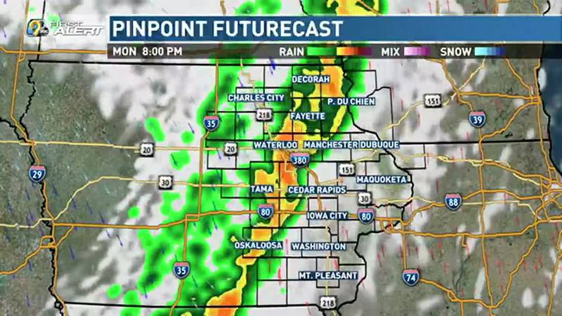 As a front arrives late Monday, showers and a few thunderstorms appear likely, lasting...