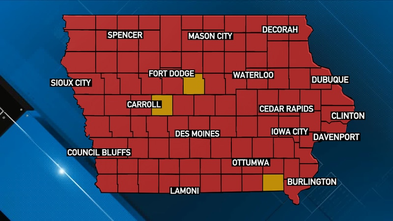 """Counties in Iowa highlighted as """"yellow zone,"""" """"orange zone,"""" or """"red zone,"""" as defined by the..."""