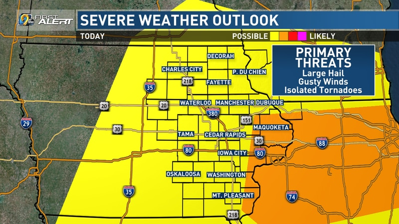 A risk of severe weather exists across eastern Iowa on Sunday, June 20, 2021.