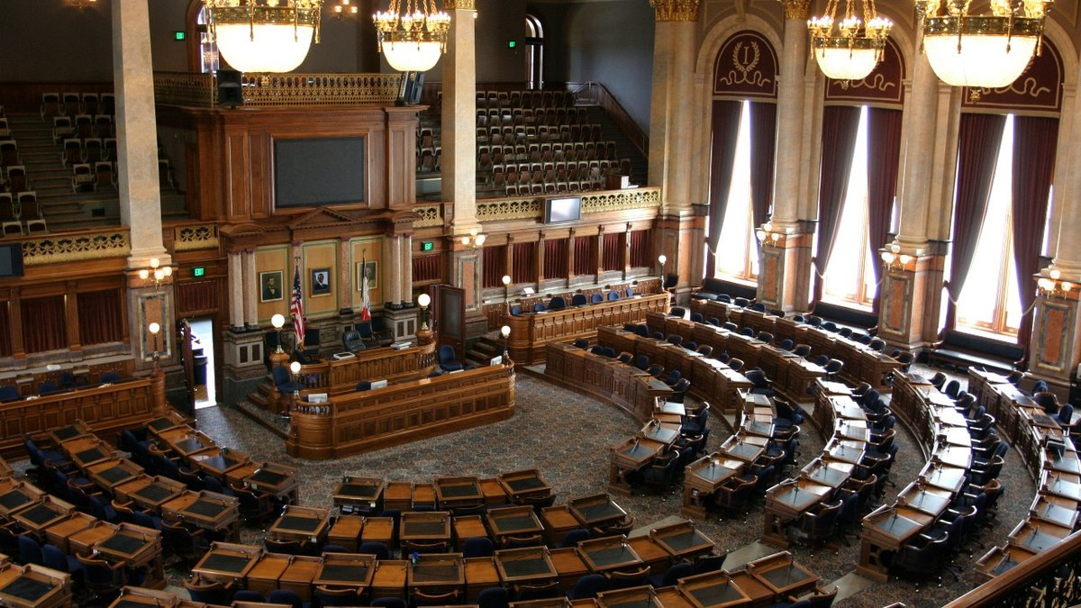 The Iowa House of Representatives' Chamber, located on the second floor of the Capitol, was...