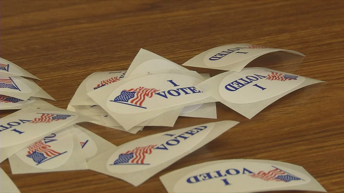 """""""I Voted"""" stickers at the City of Dubuque Elections Annex"""