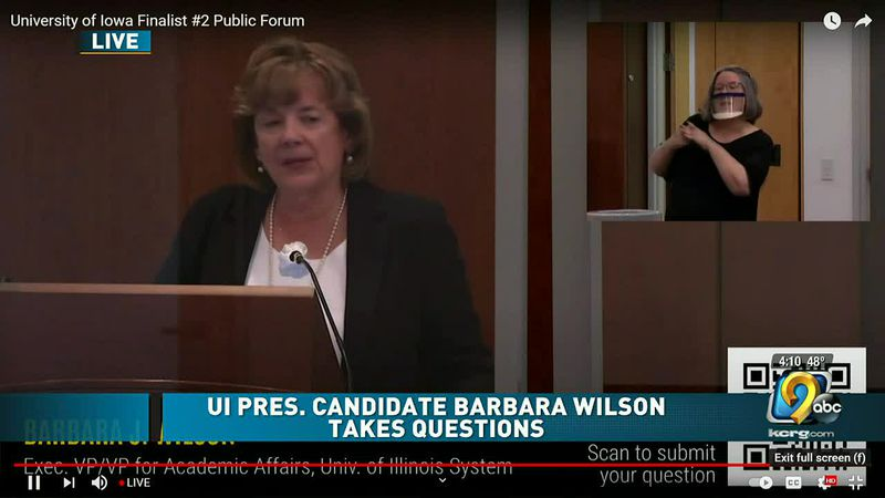 University of Iowa presidential candidate Barbara Wilson takes questions during forum