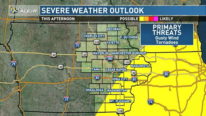 Strong storms possible this afternoon.