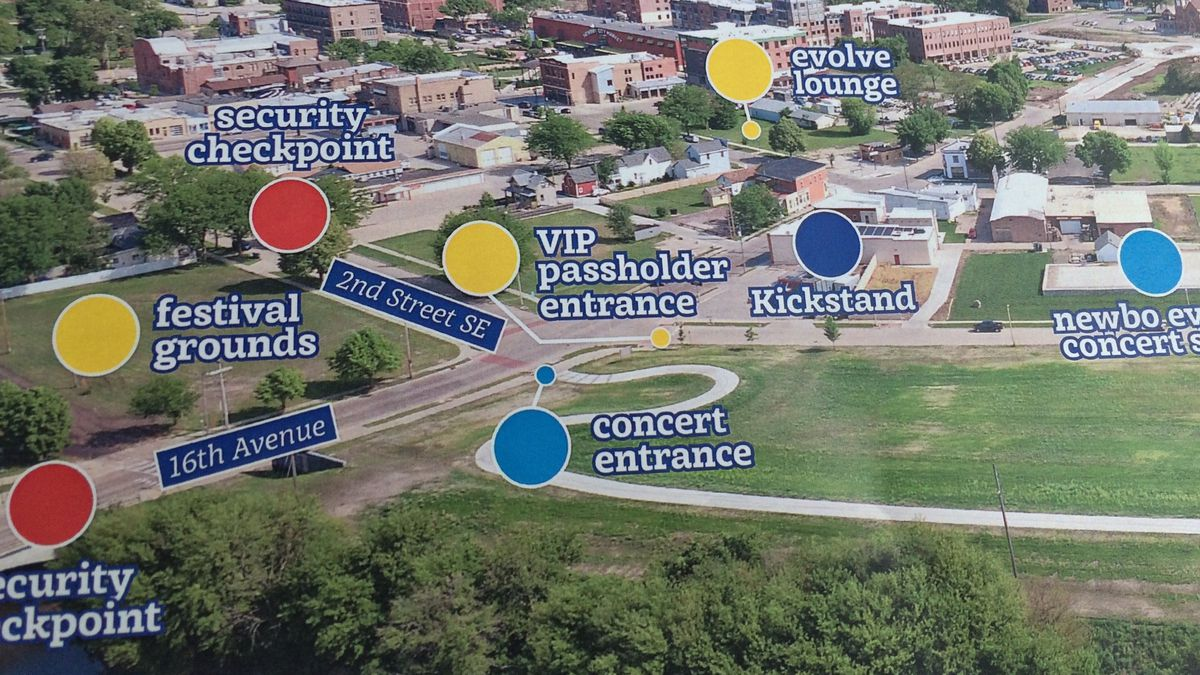 A NewBo Evolve graphic showing the location of concert stage, security points and other festival events.