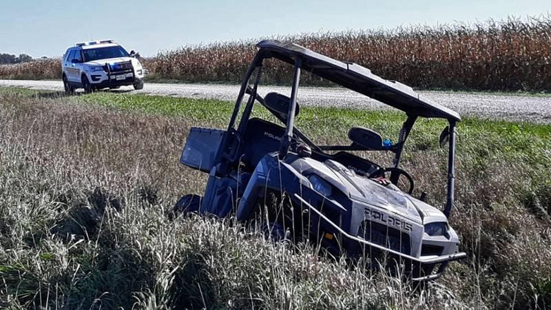 A crashed Polaris UTV along 275th Street in Buchanan County on Saturday, October 16, 2021.