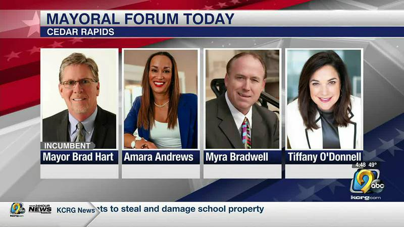 The four candidates running for the mayor of Cedar Rapids will participate in a mayoral forum.