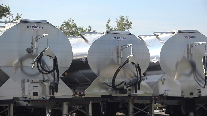 This picture shows finished grain trailers produced by KT Pacer in southwest Cedar Rapids.