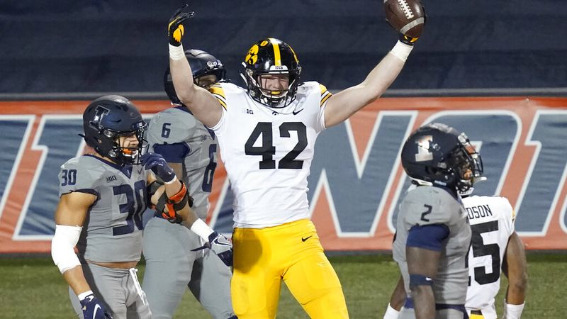 Iowa tight end Shaun Beyer celebrates his touchdown reception during the second half of an NCAA...