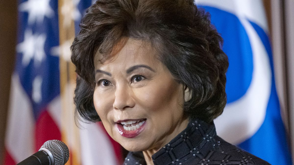 FILE - In this Sept. 18, 2019 file photo, then-Transportation Secretary Elaine Chao speaks at...