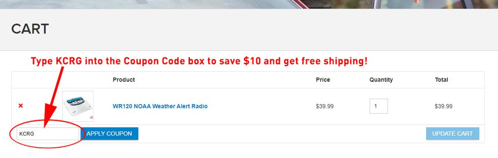 Enter the coupon code KCRG into the box in your cart on the Midland website to save 25%.