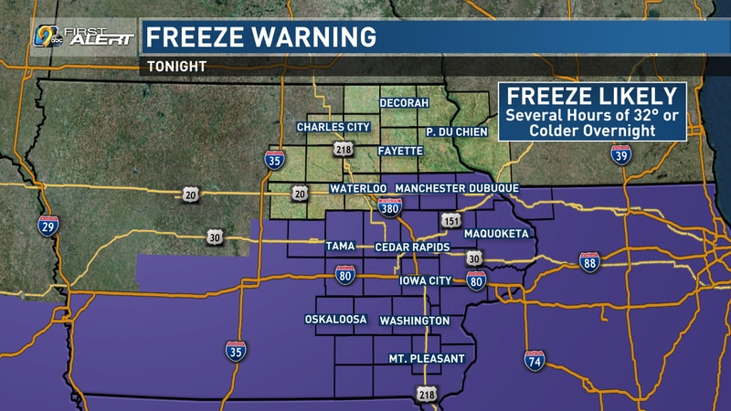 Freeze Warning will go into effect tonight.
