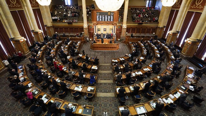 Iowa House Speaker Pat Grassley gets a standing ovation after taking the oath of office on the...