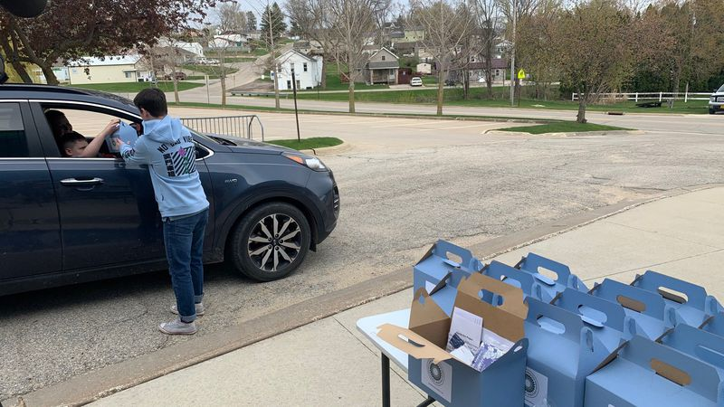 "Organizations handed out ""Happy Boxes"" in Anamosa on April 19, 2021."