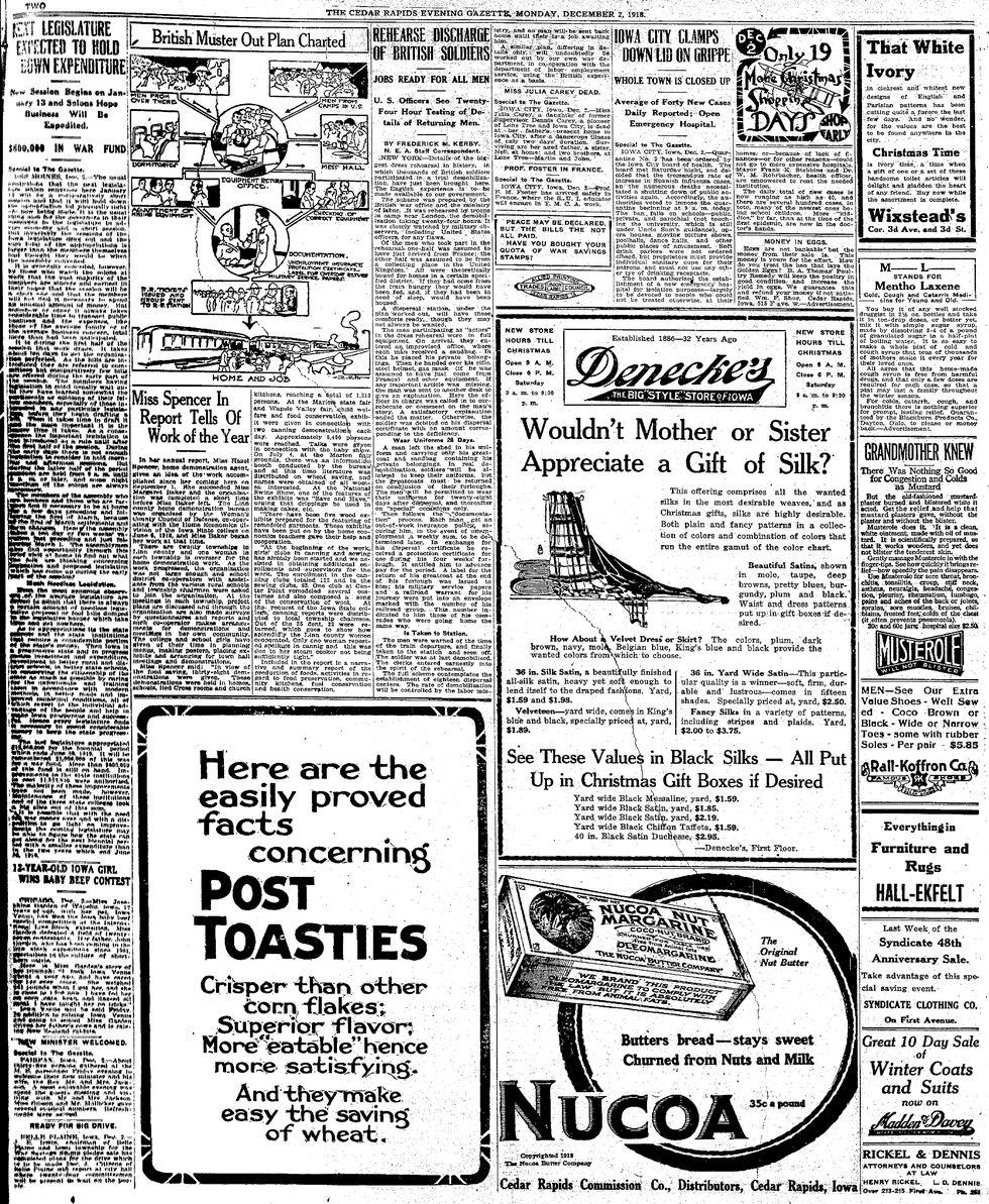Newspaper from December 2, 1918.