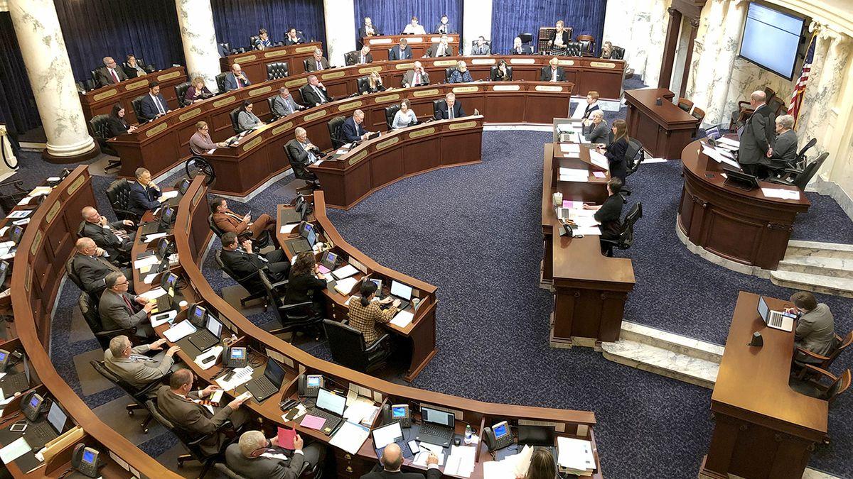 FILE - In this Feb. 27, 2020, file photo, Idaho House of Representatives debates legislation in...