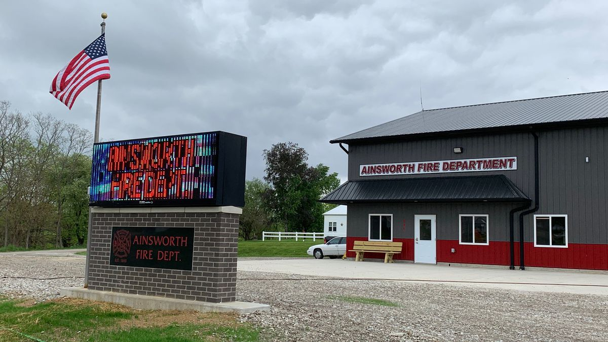 The new Ainsworth fire station, pictured on May 21, 2020 (Mary Green/KCRG)