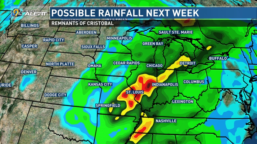 Potential area of rainfall next week from the remnants of Tropical Storm Cristobal.