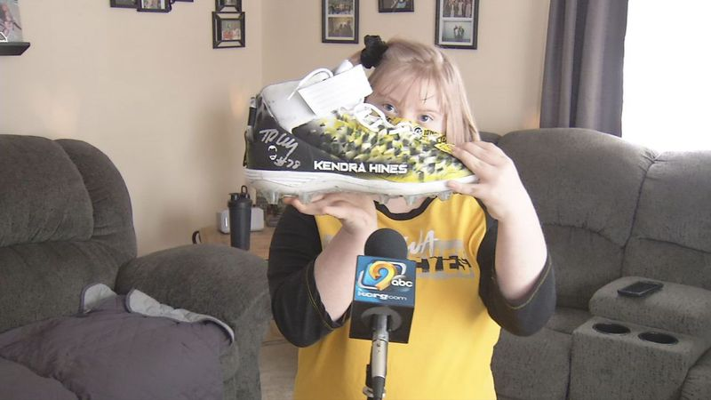 Kendra Hines of Mount Vernon received a gift from former Iowa offensive lineman Tristan Wirfs...