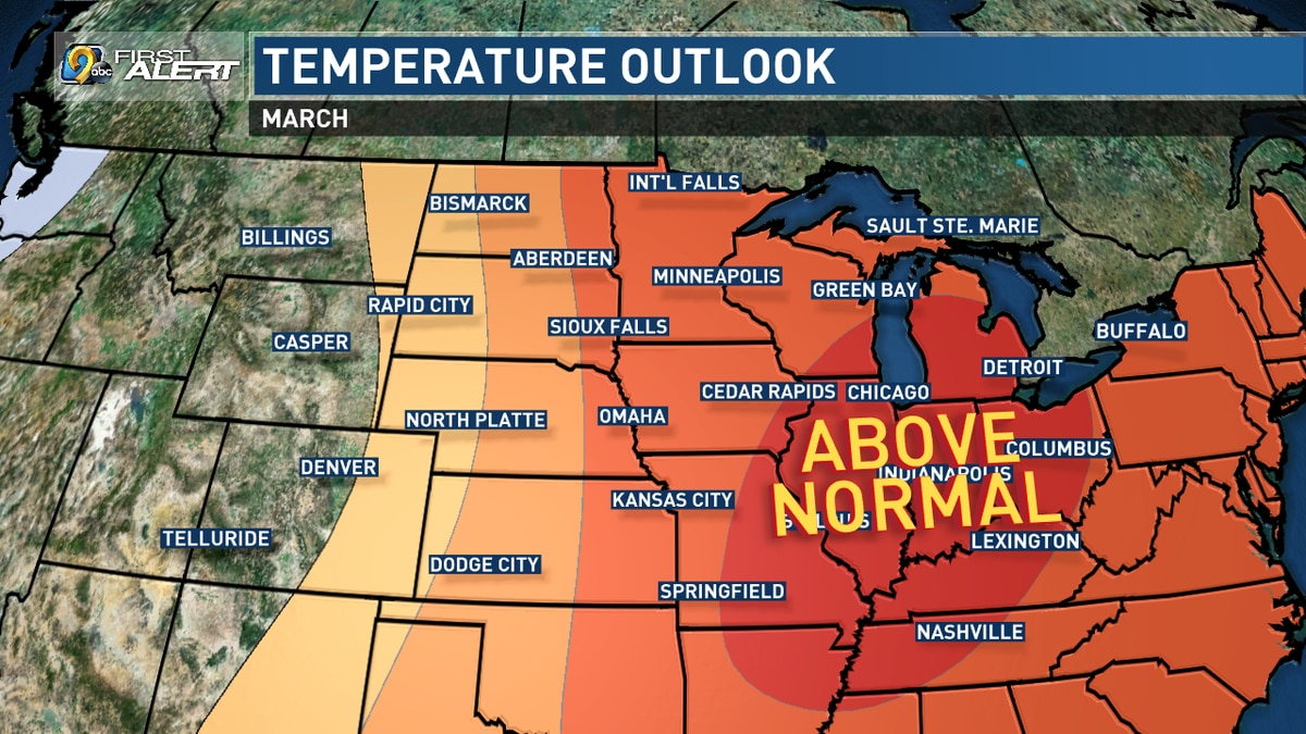 An outlook for temperatures during March 2020, as compared to normal, from the Climate Prediction Center. (KCRG)