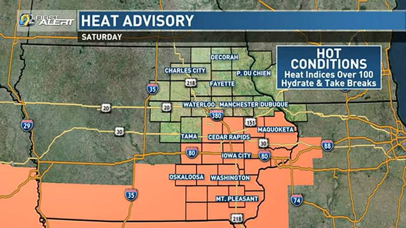 A Heat Advisory is in effect for parts of the area today.