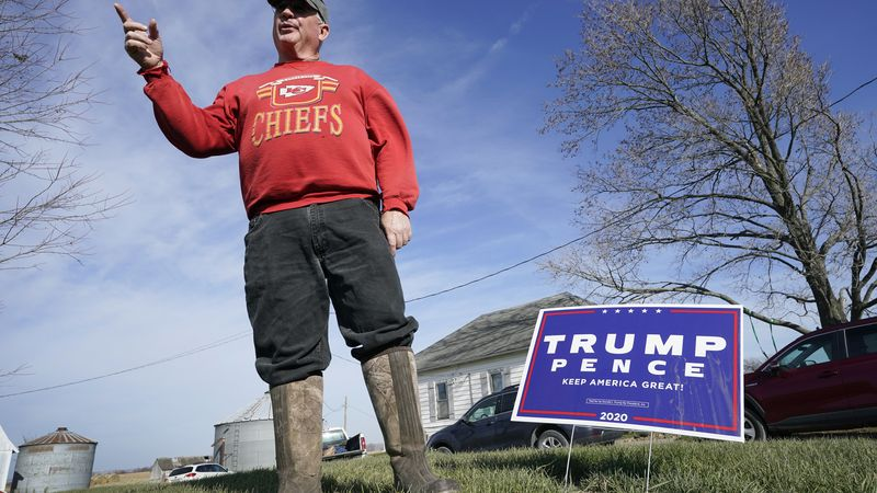 Jasper County Republican Party chairman Thad Nearmyer stands on his farm, Thursday, Nov. 19,...