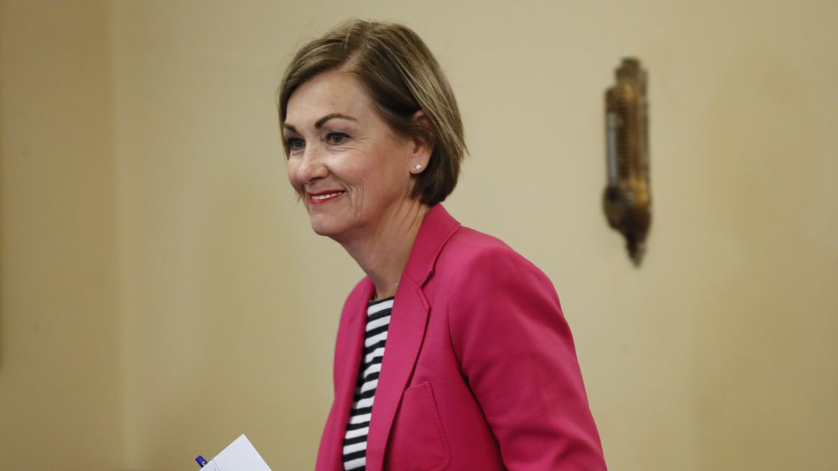 Iowa Gov. Kim Reynolds arrives to update the state's response to the coronavirus outbreak at a...