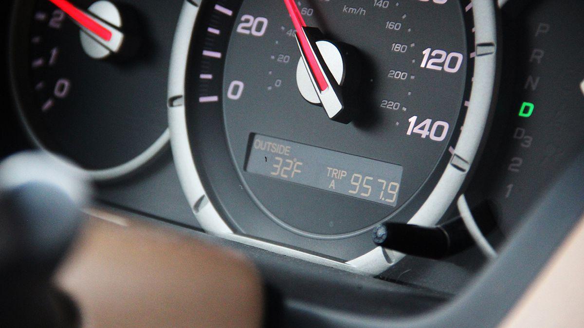 A car's instrument panel.