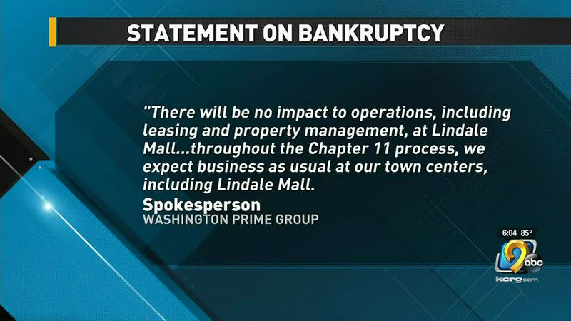 Lindale Mall owner statement on bankruptcy.