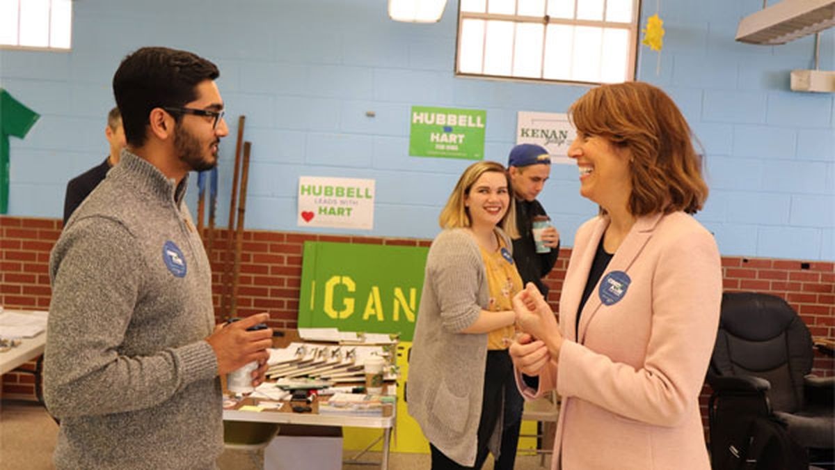 Cindy Axne on the campaign trail in October 2018. (COURTESY PHOTO)