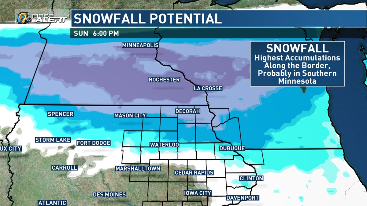 Swath of potential snowfall for late Saturday night through Sunday.